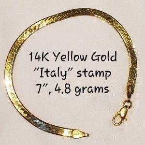 "Jewelry - 14K YELLOW GOLD 7"" herringbone bracelet"